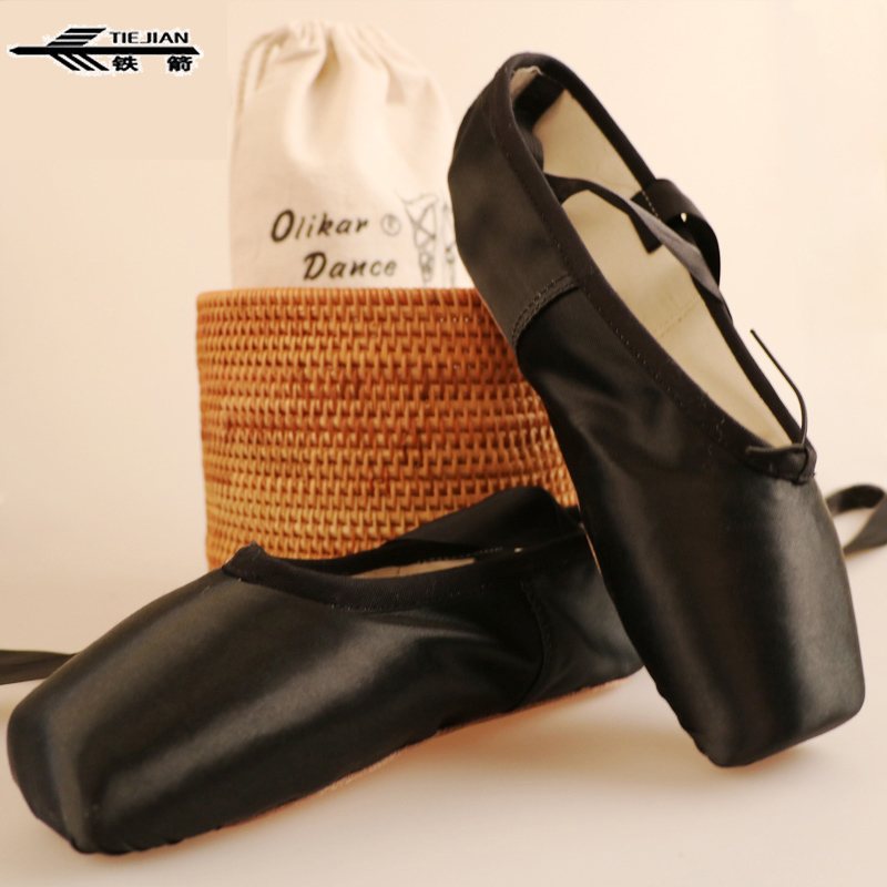 New Black Ballet Dance Toe Shoes Professional Ladies Satin Pointe Shoes with free shoe bag and Gel Toe Pads colorful ballet pointe shoes silky satin material beautiful colors professional ballet dance pointe shoes