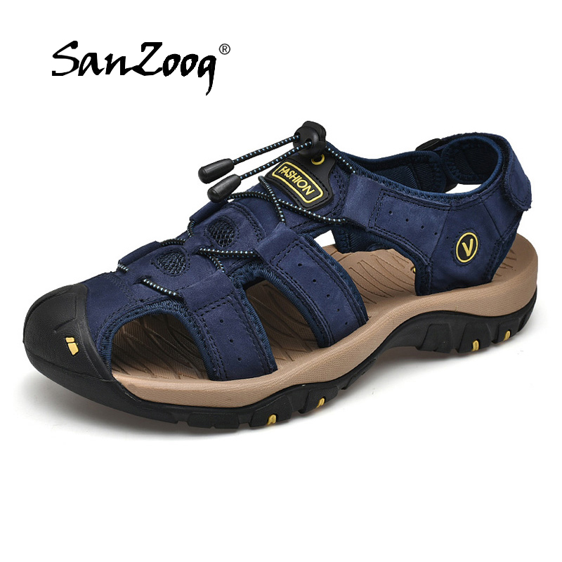 2019 New Mens Sandals Summer Outdoor Non-Slip Sandal Genuine Leather For Trekking Breathable Fashion Casual Shoes Size 47 48