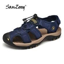 2019 novos homens sandálias de verão ao ar livre antiderrapante sandália couro genuíno para trekking respirável moda sapatos casuais tamanho 47 48