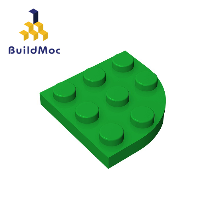 BuildMOC 30357 Plate Round Corner 3 X 3 For Building Blocks Parts DIY LOGO Educational Creative Gift Toys