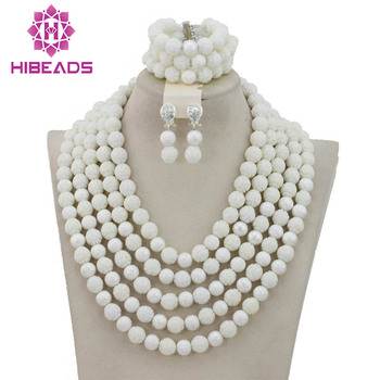 Exclusive White Coral Beads Costume African Jewelry Sets Dubai Arabic Wedding Bridal Jewelry Set Free Shipping CNR185