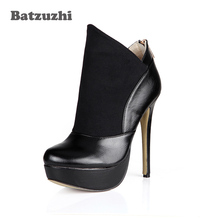 Batzuzhi-100% Brand New Handmade Women Boots Sexy 14cm High Heels Platfrom Ankle Boots Black Leather Zapatos Mujer, Big Size 43 big size sexy full studs stilettos thin high heels pointy toe black leather women ankle boots