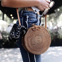 INS Popular 2018 Hot Sale Vietnam Hand Woven Bag Round Rattan Straw Bags Bohemia Style