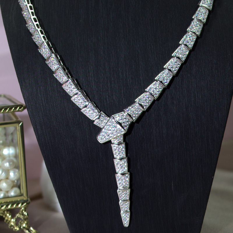Luxury Jewelry Cubic Zirconia Silver snake Necklace fashion famous brand snake head animal mother of pendant