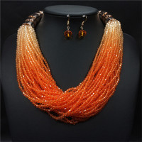 Shiny Layered Gradient Necklace Earrings Crystal Strand Handmade Beaded Bohemian Boho   Jewelry     Sets   for Women Duftgold