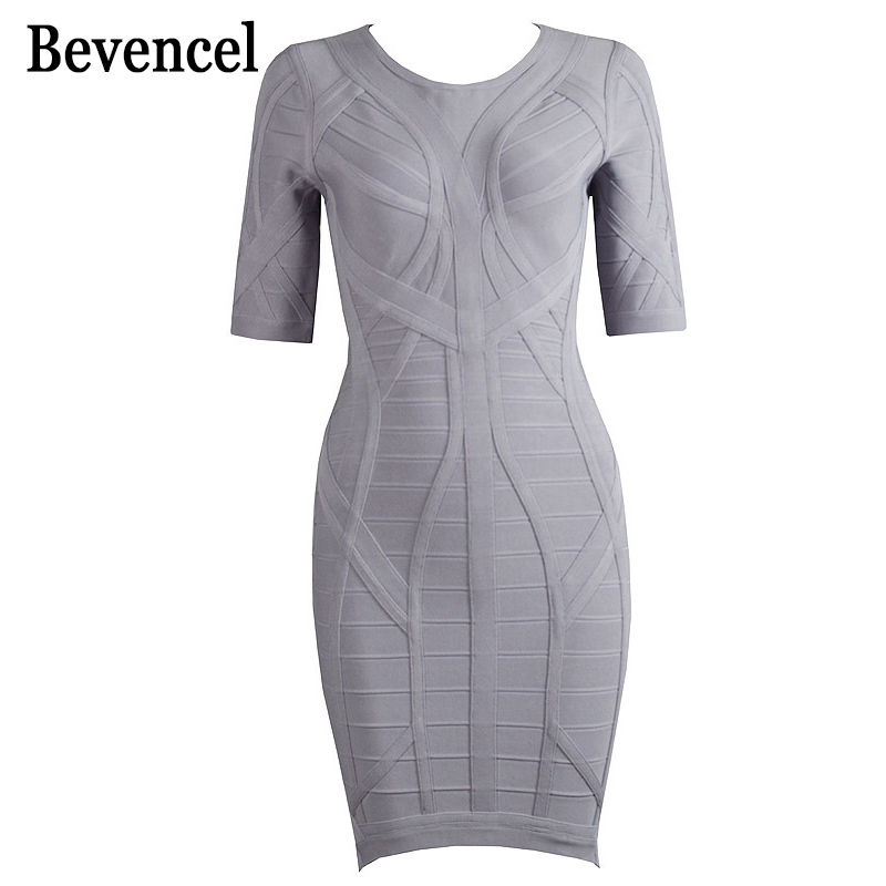 2016 new autumn dress gray short sleeve HL bodycon bandage dress women dresses party dress