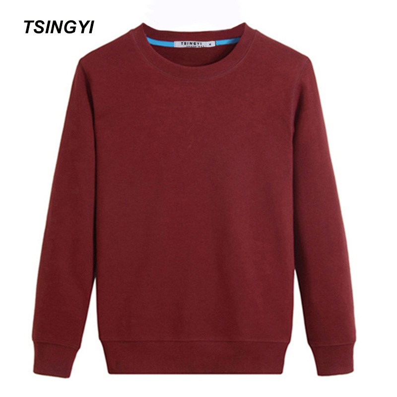 Tsingyi Solid Pullover Women Men's Hoodies Black White Blue Grey Burgundy Cotton Terry Casual Sweat Homme Men Hoodie Sweatshirt