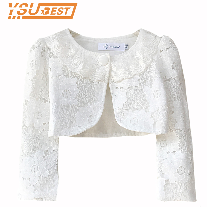 New 2019 Baby Girls Lace Outerwear & Coat Long Sleeve Wedding Princess Style Girls Formal Party Coat Kids Outerwear Waistcoats