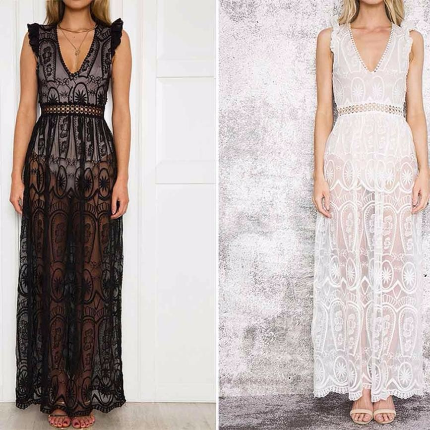 Party Dresses Women Hollow Out Lace Dress Sleeveless Backless Long Maxi Dresses Vestido Branco #T ...