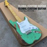 ST Mới Thủ Công Tuổi Relic Electric Guitar với Ash Body trong Màu Xanh Lá Cây Màu Sắc, tuổi guitar guitar bộ phận, Real photo hiển thị, HOT!