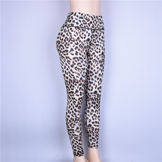 Push Up Sports Leggings for Women with Leopard Prints