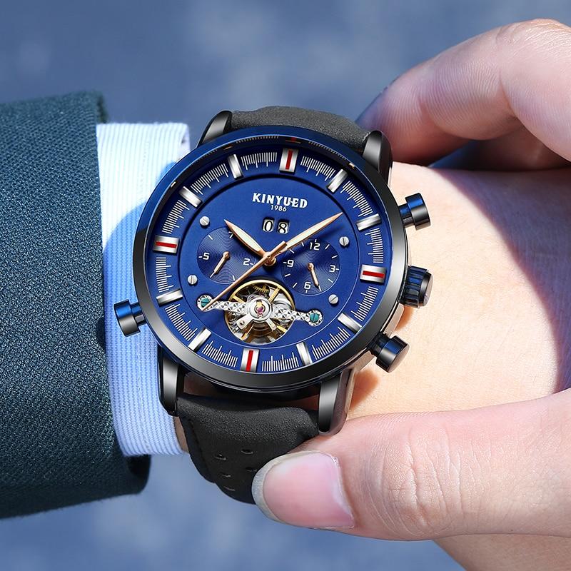 Tourbillon Automatic Mechanical Watch Men Leathher Antique Balck Gold Mens Watches Luminous Perpetual Calendar Relogio Masculino|Mechanical Watches| |  - title=