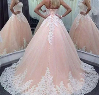 Bealegantom Lace Quinceanera Dresses 2018 Ball Gown Appliques Crystals Lace Up For 15 Years Debutante Vestidos De 15 Anos QA1453