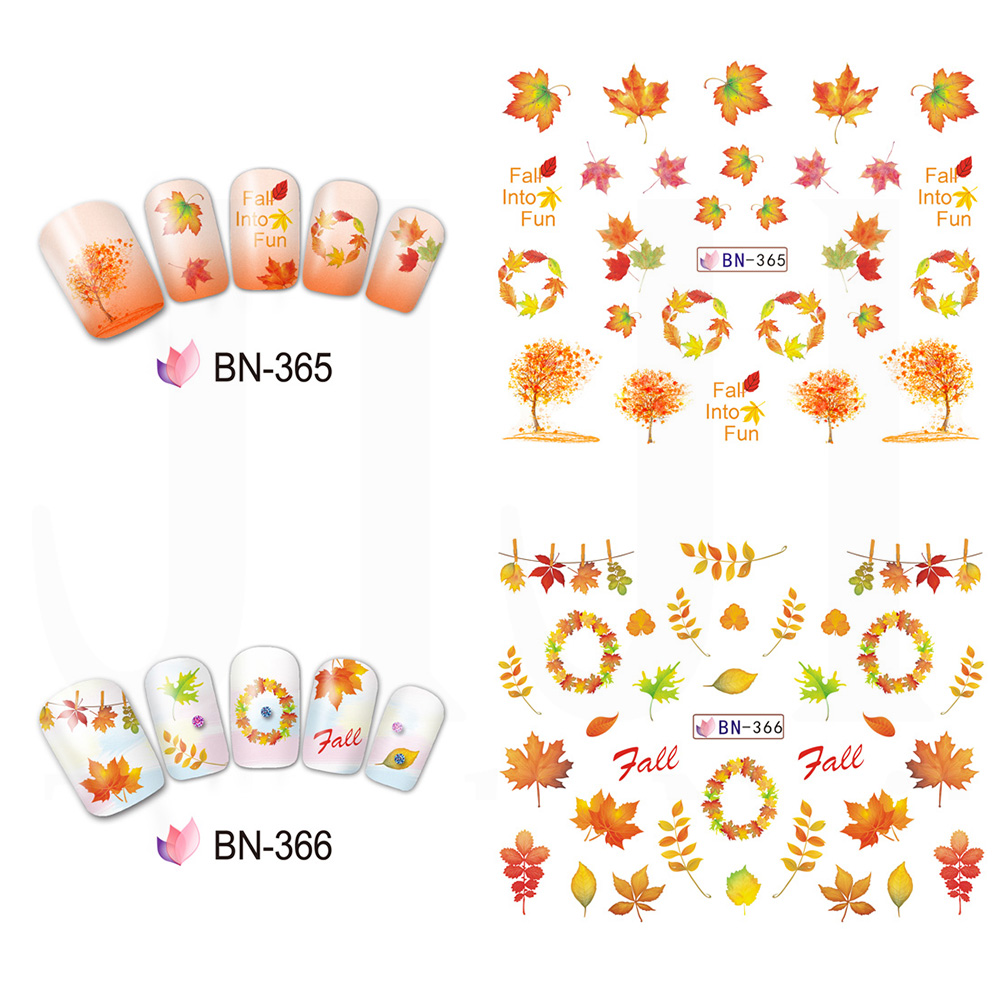 Image 3 - 12 Designs Fall Leaves Nail Sticker Water Transfer Nail Art Decal Autumb Yellow Maple Leaf Turkey Nails Decorations JIBN361 372-in Stickers & Decals from Beauty & Health
