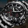 Мужские спортивные механические часы BOYZHE  светящиеся часы из нержавеющей стали черного цвета в стиле милитари