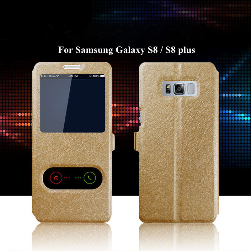 Double Window View Stand Flip Luxury PU Leather Case For Samsung Galaxy S8 S8 Plus Magnetic buckle Flip Cover Protective Cases