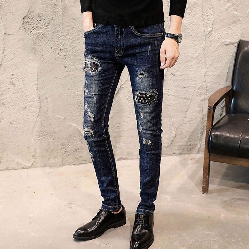Fashion Streetwear Elastic Skinny Men   Jeans   Rivet Black Destroyed Ripped   Jeans   Men Denim Pants Slim Fit Hip Hop Nightclub   Jeans
