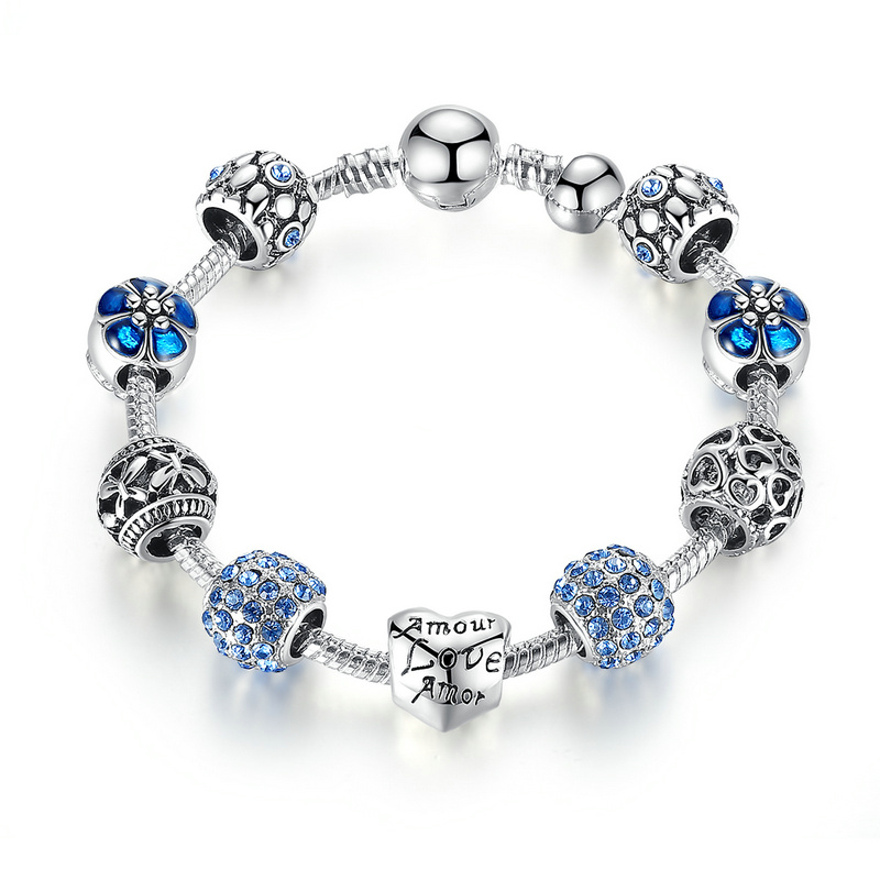 BAMOER Antique Silver Charm Bracelet & Bangle with Love and Flower Beads Women Wedding Jewelry 4 Colors 18CM 20CM 21CM PA1455 5
