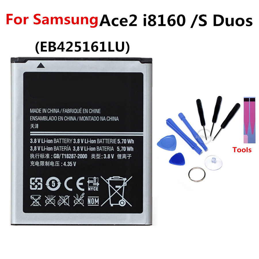 For <font><b>Samsung</b></font> EB425161LU <font><b>Battery</b></font> 1500mAh For Galaxy S Duos S7562 S7566 S7568 <font><b>Ace</b></font> 2 i8160 S7582 S7560 S7580 i8190 i739 i669 <font><b>J1</b></font> Mini image