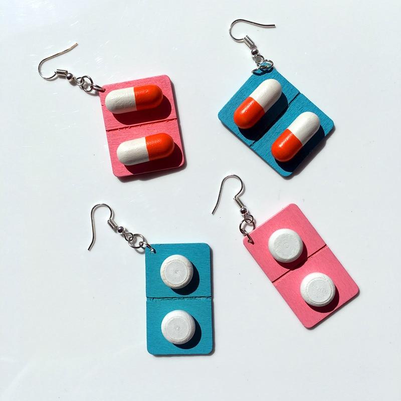 Energetic Fashion Cute Creative Wooden Capsule Drop Earrings Funny Lovely Pills Medicine Dangle Earrings Unique Jewelry Gift For Girl Drop Earrings
