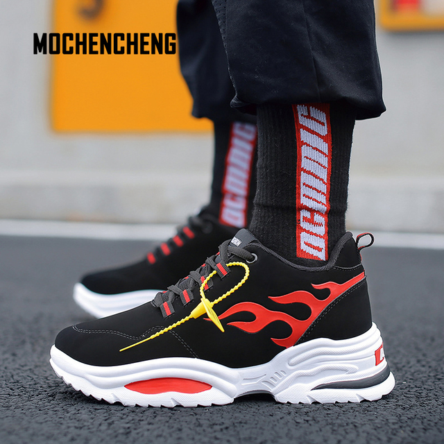Men Sneaker Chunky Wedge Platform Dad Shoes Hip Hop Flame Print Flock Upper  Lace-up Round Toe Flat Female Sneaker Rubber Shoes 3d6803c6c