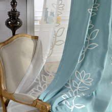 Window Curtain Living Room Elegant Drapery Panel Embroidery Thread Curtain Thick Ready Made Blind Finished Blue