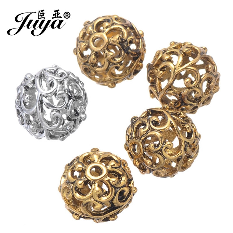 JUYA 20pcs/lot 12mm Engrave Hollow Alloy Beads Ancient Gold/Silver Color Beads for Women Jewelry Making Supplies Accessories