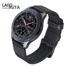 Laforuta 22mm for Samsung Gear Sport S3 Classic Frontier Galaxy Watch 46mm Band Army Green Nylon Fabric Quick Release Pins Strap