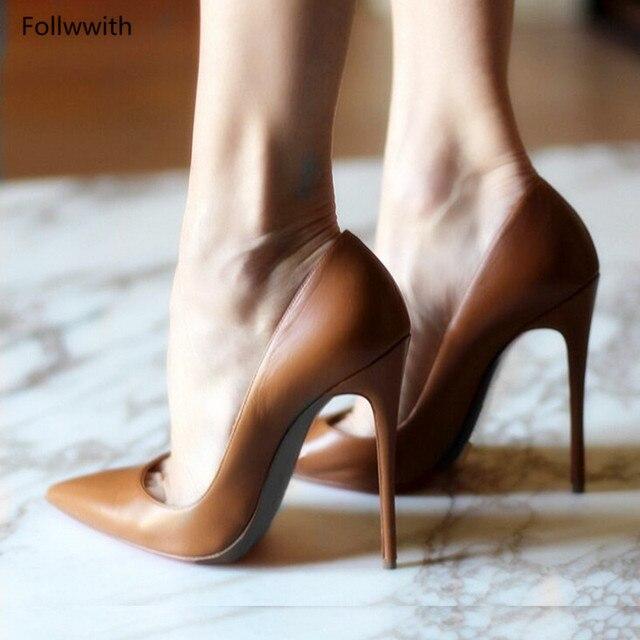 949336affb 12 cm Marrom Macio Vermelho Couro Envernizado Zapatos Mujer Mulheres Sapatos  De Salto Alto Do Dedo