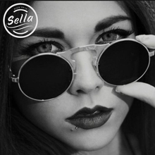 Sella SMALL SIZE Folding STEAMPUNK Sunglasses Round Punk Metal OCULOS de sol Women COATING SUNGLASSES Men Spring Temples GLASSES