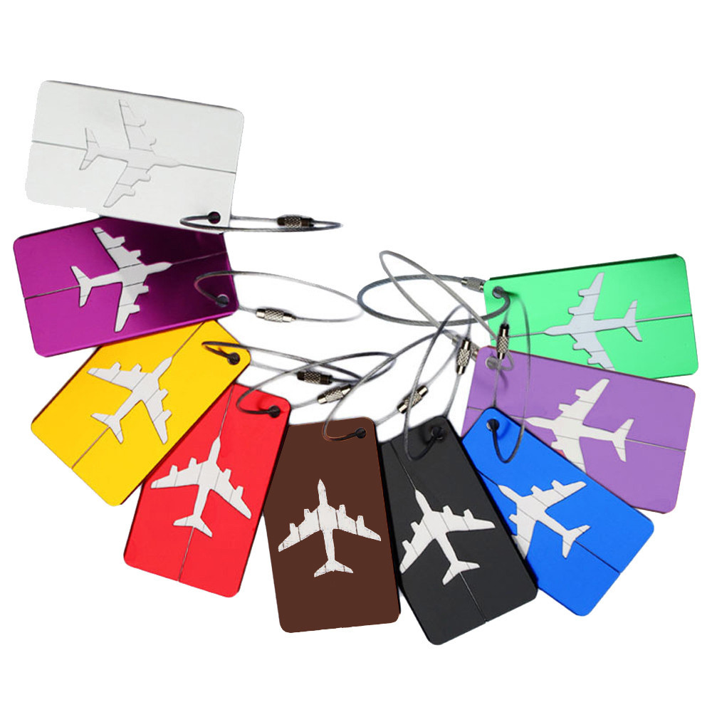 Square Luggage Tag Prints Airplane Checked Boarding Accessories Stainless Steel Ring Mini Luggage Labels 7.5*4.4cm Drop Ship