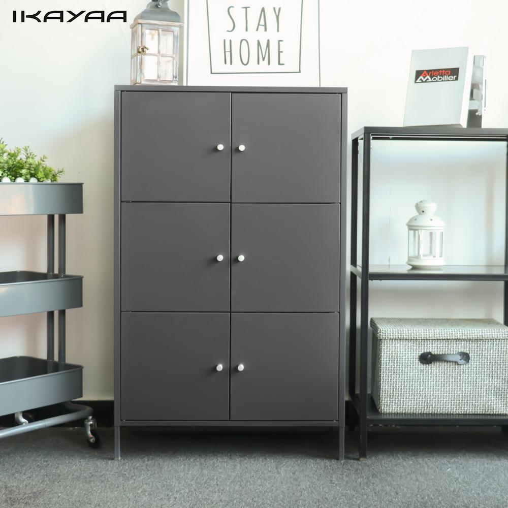 IKayaa современный 6 двери шкафа металлические шкафы для хранения ящик для Спальня Ванная комната мебель шкафы для хранения украшения дома
