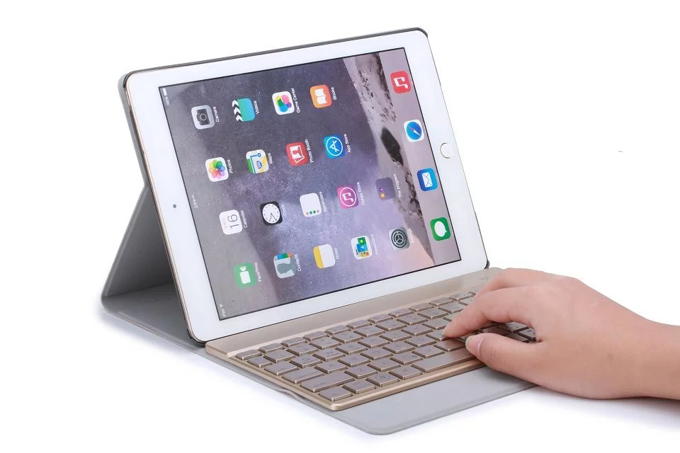 Seven-color Backlight Russian/Hebrew/Spanish Wireless Bluetooth Keyboard&Leather Cover Case For Apple iPad Pro 9.7