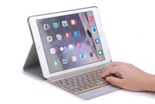 Seven-color Backlight Russian/Hebrew/Spanish Wireless Bluetooth Keyboard&Leather Cover Case For Apple iPad Pro 9.7″ 2016 Tablet