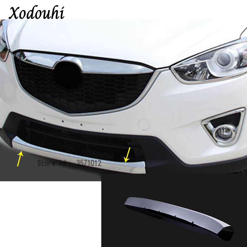 For Mazda CX-5 CX5 2013 2014 2015 2016 Car cover detector ABS Chrome trims Front bottom Grid Grill Grille bumper edge part 1pcs abs chrome front bottom bumper cover trims grille strips car engine protection for toyota corolla 2017 2018 facelift accessories