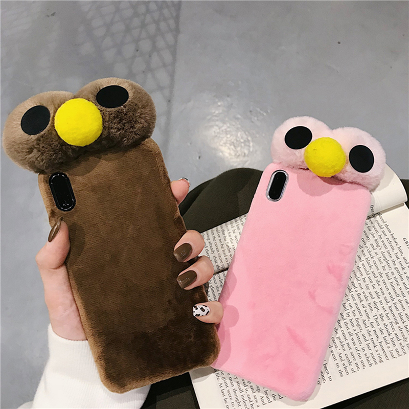 Cartoon Doll Toy Bird Phone Case 3d Cute Plush Strap Kawaii Soft Warm Cover with Bracket Stand for Phone 7 8 Case Shell in Half wrapped Cases from Cellphones Telecommunications