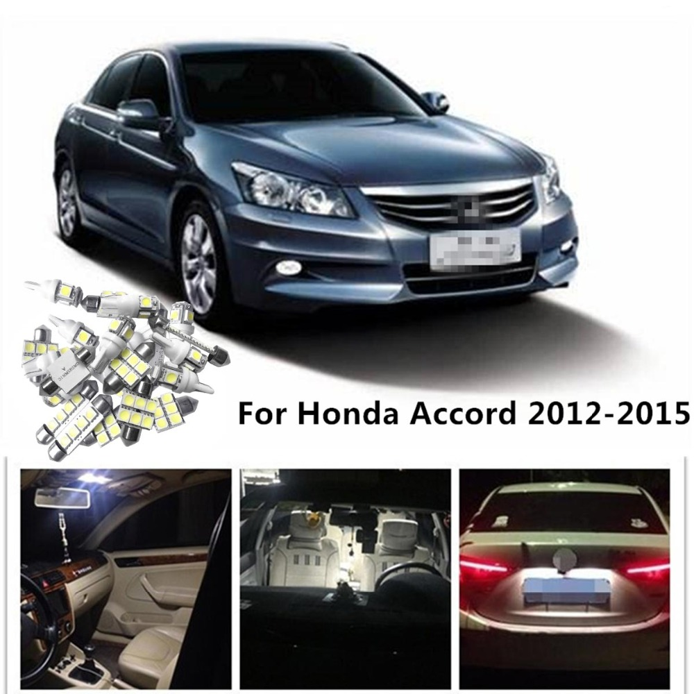 Circular 11pcs white led light bulbs interior package kit - 2015 honda accord interior illumination ...