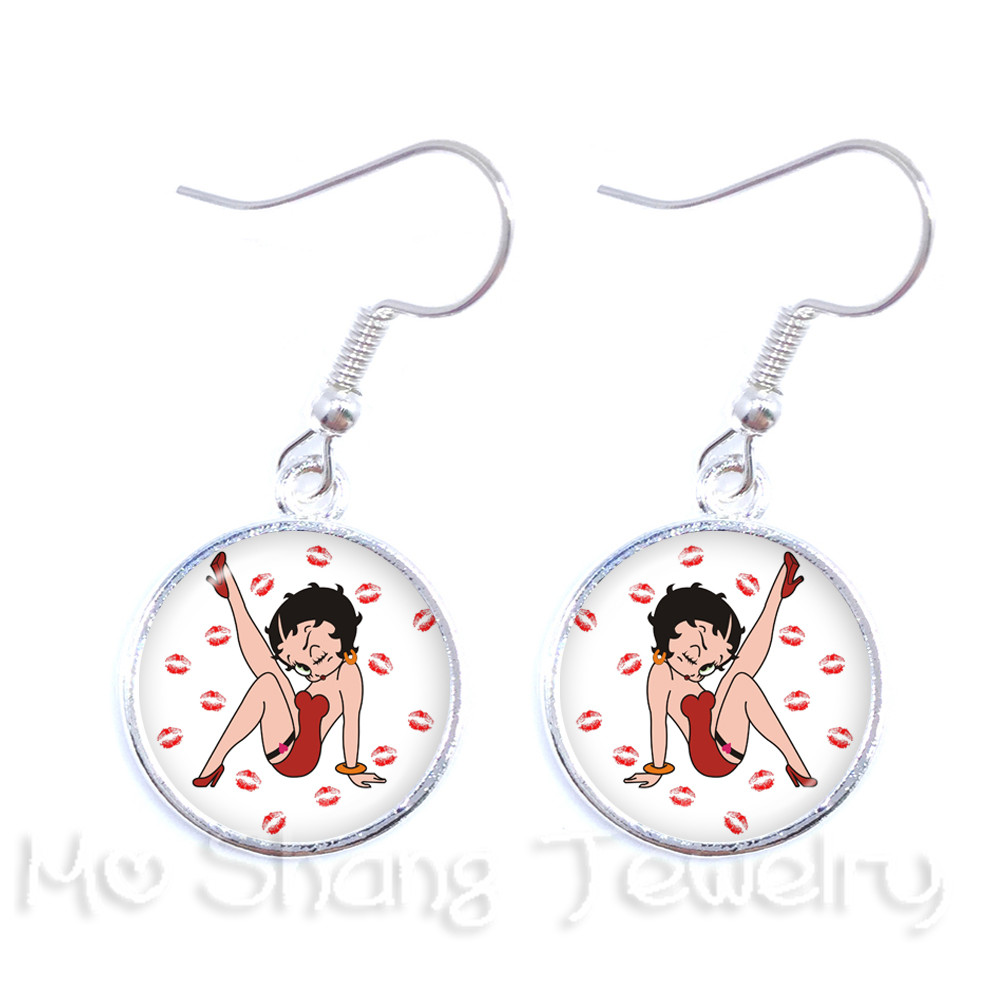 Holiday Style The Leisurely <font><b>Sexy</b></font> Betty Boop Series <font><b>Long</b></font> <font><b>Earrings</b></font> DIY Charms Drop <font><b>Earrings</b></font> For <font><b>Women</b></font> Girls Wonderful Gift image