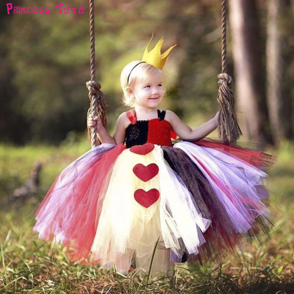 Halloween Queen of Heart Tutu Dress with Crown Little Girls Alice in Wonderland Cosplay Costume Set For Christmas New Year Party цены