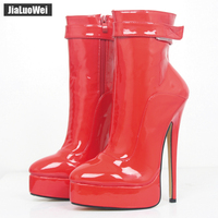 Women Ankle Boots 18cm 7 Ultra High Heels 2017 Fashion Sexy Woman Platform Ankle Strap Boots