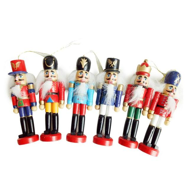Us 808 30 Offnew 6pcs Set Christmas Decorations Nutcracker Wooden Soldier Puppet 12cm Tin Toy 6 Piece Decorative Pendant In Pendant Drop
