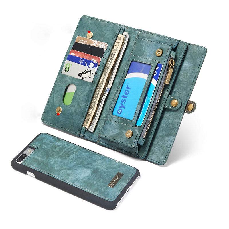 Split Genuine Leather Wallet Case For <font><b>iPhone</b></font> X 7 8 6 6S Plus 360 Full Coverage Card Magnetic Kickstand Bag For Samsung S8 Plus