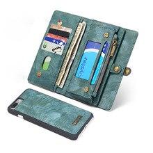 Разделение Натуральная кожа бумажник чехол для iPhone 7 Слот для карты Денежные 360 полный охват Магнитная подставка Чехлы для iPhone 7 6 6 S плюс