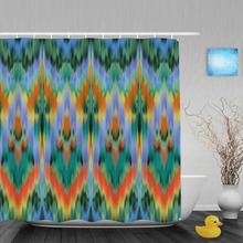 Abtract Intricate Seamless Pattern Bathroom Shower Curtain Ethnic Style Curtains Waterproof Polyester Fabric With Hooks