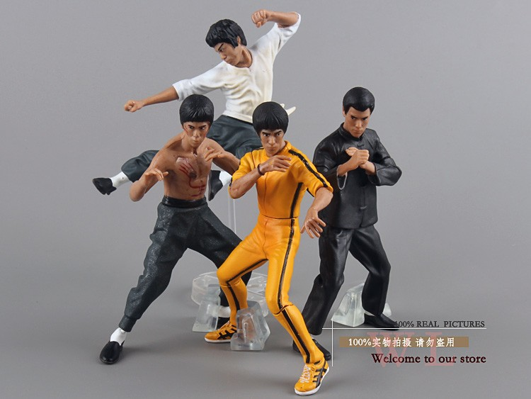Free Shipping Cool Bruce Lee Kung Fu PVC Action Figures Toy 4pcs/set New in Box OTFG070 women s kung fu tai chi martial arts suit wushu wing chun performance costumes