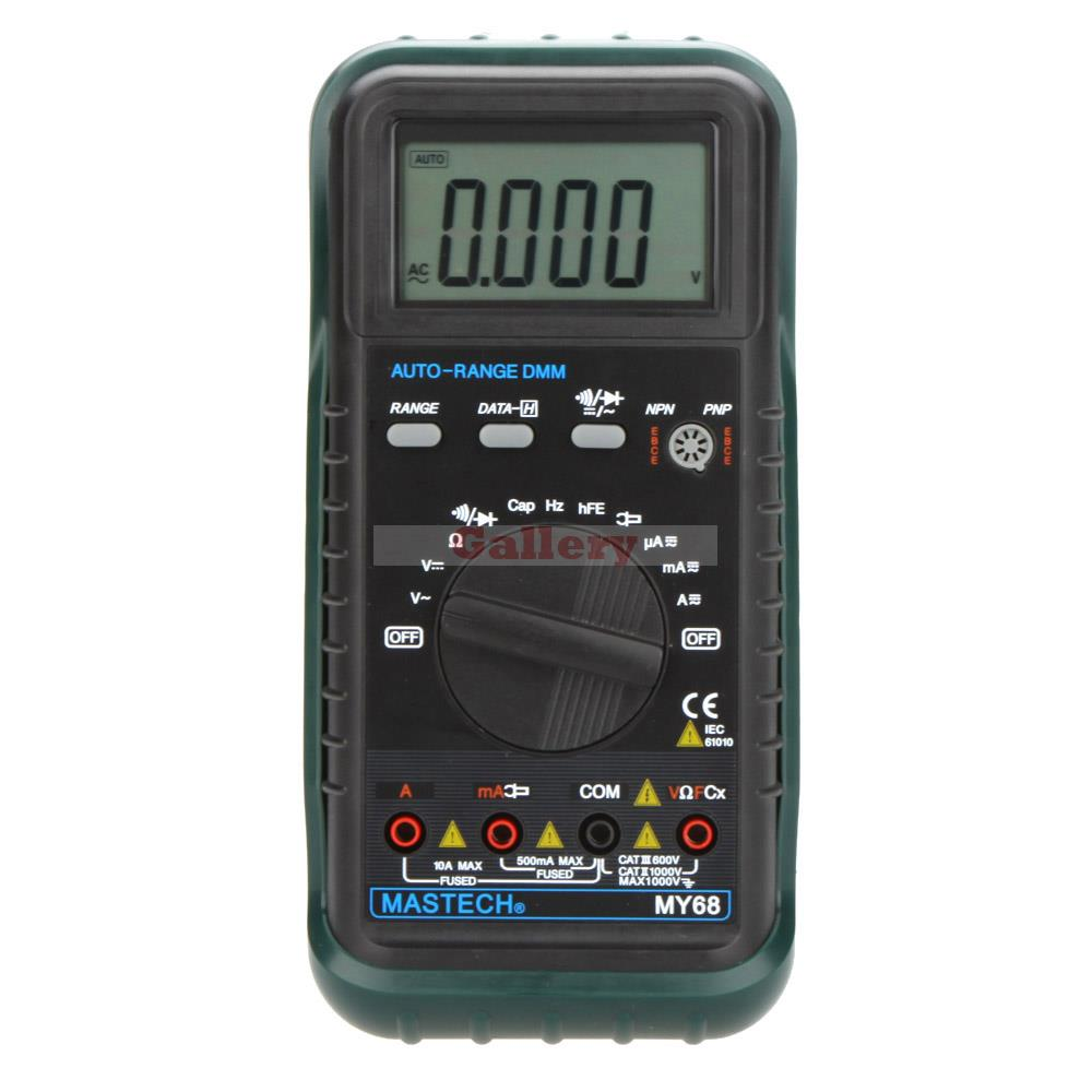 My68 Handheld Auto Range Digital Multimeter Dmm W Capacitance Frequency & Hfe Test Meter Testers Digital Multimeter mastech ms8260f 4000 counts auto range megohmmeter dmm frequency capacitor w ncv