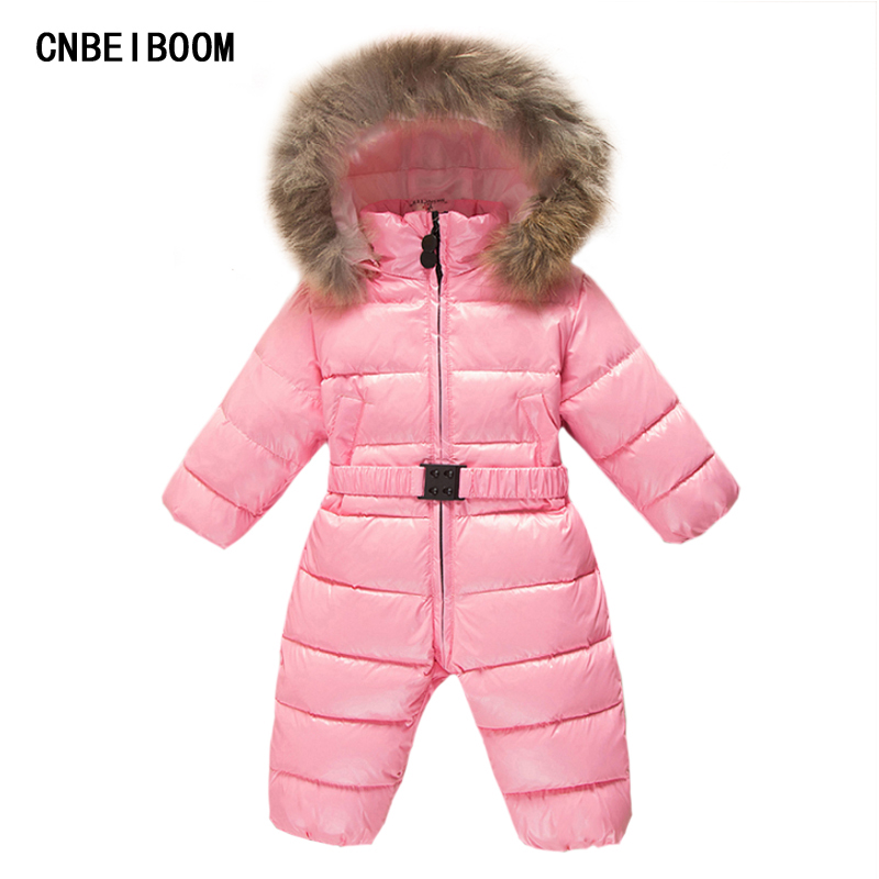 Baby Snowsuit Jumpsuit 0-3T Duck Down Hooded Jacket Infant Girl Boys Warm Romper Natural fur Children Winter Ski Suit Clothes 2016 winter boys ski suit set children s snowsuit for baby girl snow overalls ntural fur down jackets trousers clothing sets