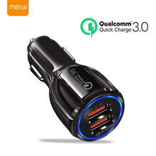 MEIYI QC3.0 Car Charger Quick Charge Dual USB Fast Charging Cable For iphone X XS Samsung Xiaomi Huawei Adapter Socket