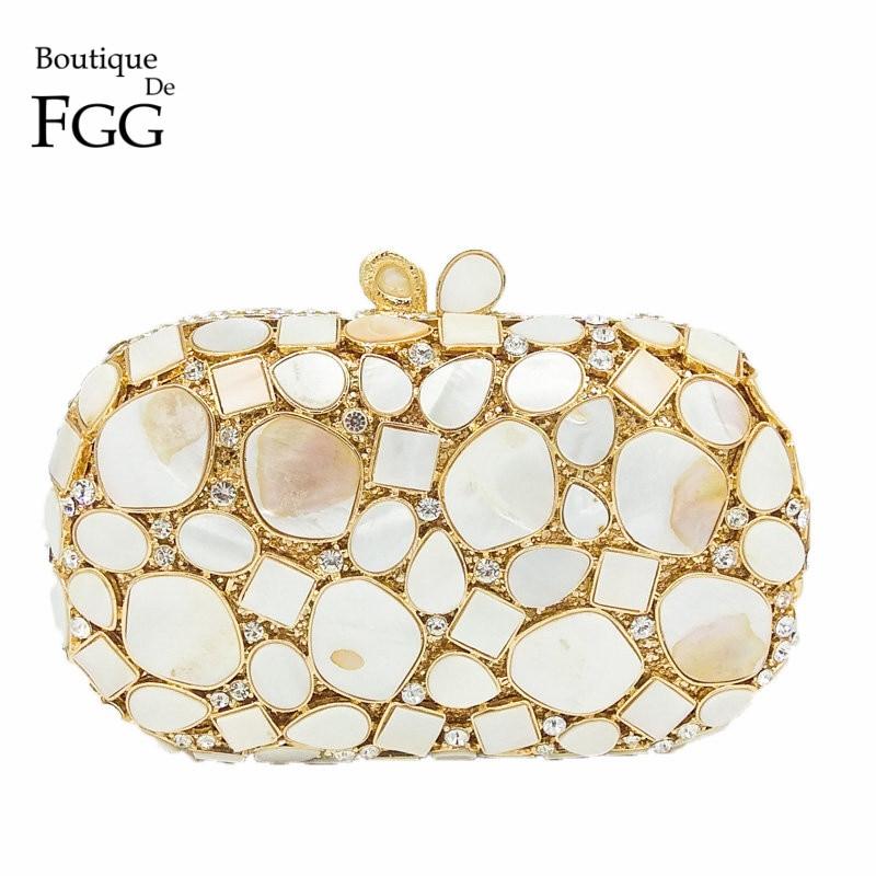Natural Shell Women Luxury Crystal Evening Bags Bridal Wedding White Clutch Purse Hardcase Gold Metal Party Shoulder Handbag
