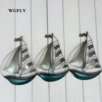 Iron sailing boat wall hangings blessing peace, smooth sailing good lucy decorative living room coffee shop wall creative